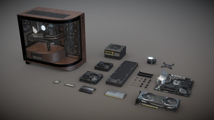 Computer Parts ( Built PC ) 3D Model