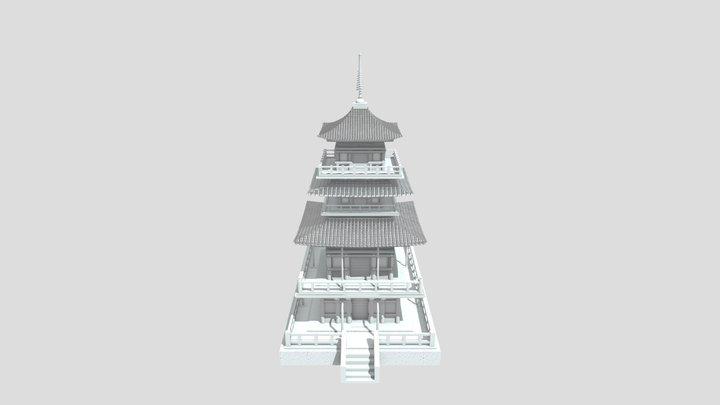 Robert Saunders Japanese Temple Model 3D Model