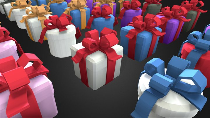 Gift box package low poly 3D Model