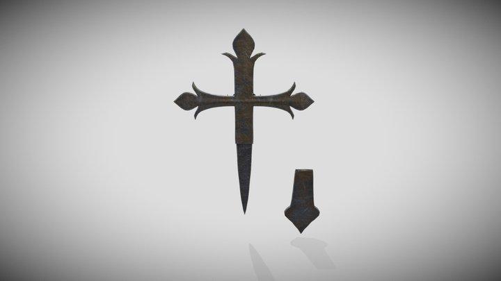 Metallic old hidden-blade cross 3D Model