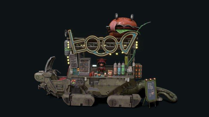 Sci-fi FoodCart 3D Model