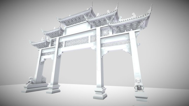 Chinese Archway 01 3D Model