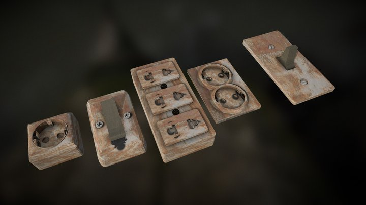 Sockets & Switches old USSR 3D Model