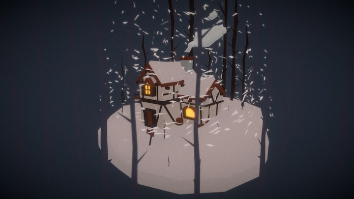House in winter-Diorama 3D Model