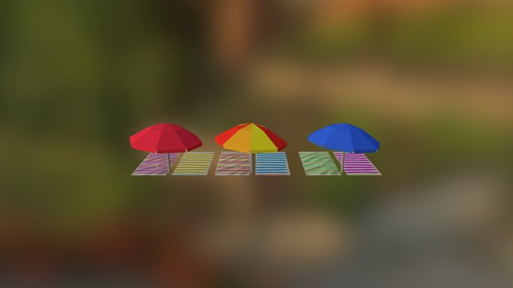 low poly beachgear 3D Model