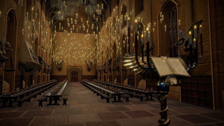 Harry Potter - Hogwarts great hall (Animated) 3D Model