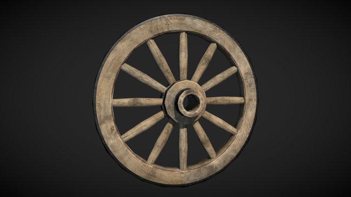 Wooden Wheel lowpoly 3D Model