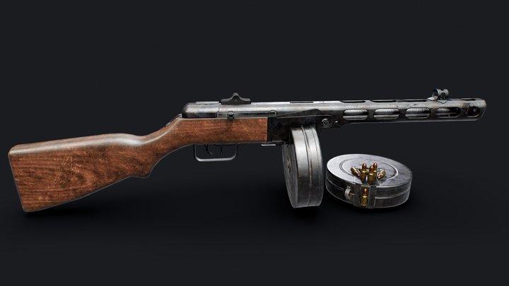 PPSh-41 submachine gun 3D Model