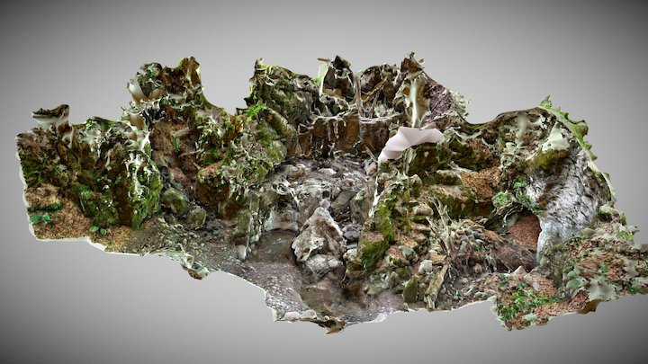 Almost dry waterfall 3D Model