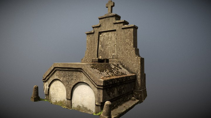 Photorealistic scanned old crumbling crypt LOD 3D Model