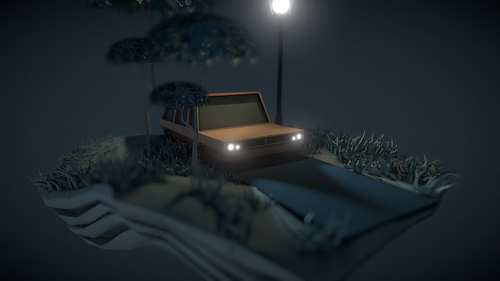 Night Car landscape 3D Model