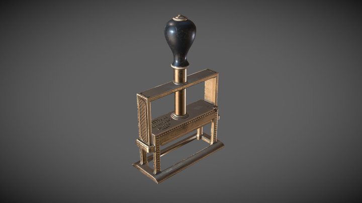 Old Victorian Rubber Stamp 3D Model
