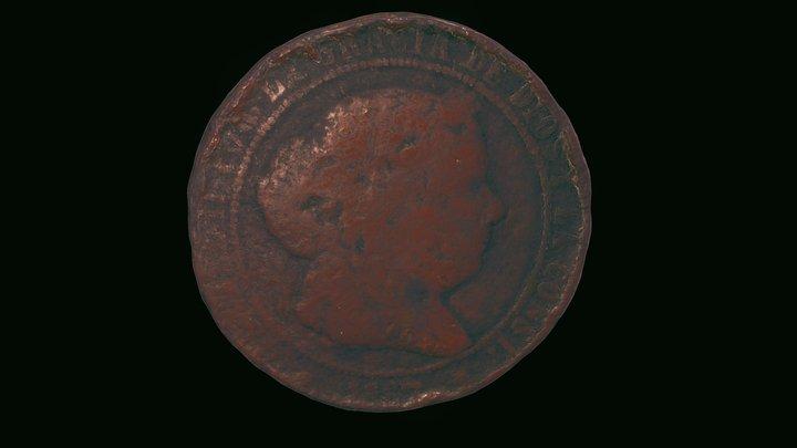 Moneda de 5 céntimos de escudo de 1867 3D Model