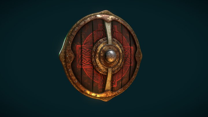 Battle Worn Viking Shield 3D Model