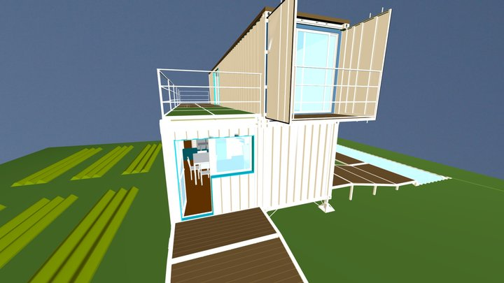 ABORES - Shipping Container house design 3D Model