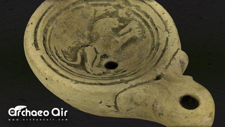 Roman Oil Lamp - Lion 3D Model