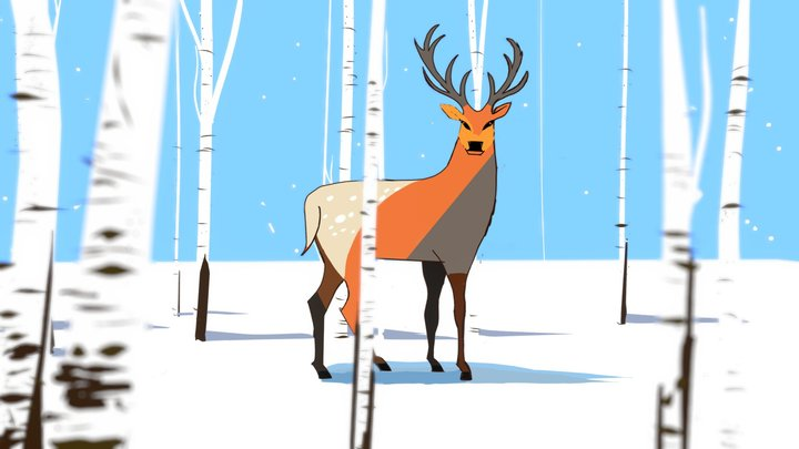 Deer in the Winter forest 3D Model