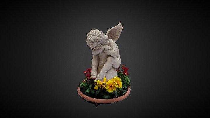 Angel relaxes in flowers 3D Model