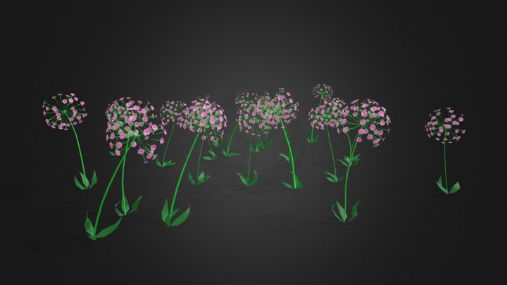 Animated Lilly Flowers 3D Model