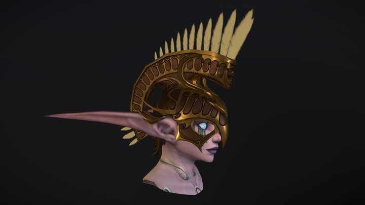 Night elf helm (low poly version) 3D Model
