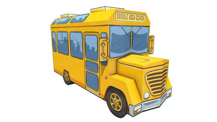 Doodle High School Bus 3D Model