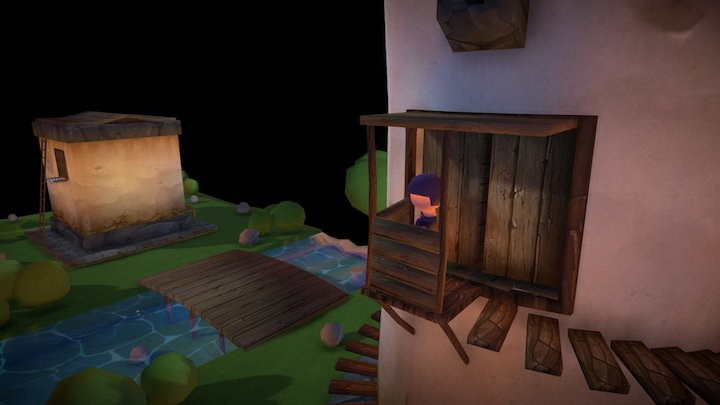House, Tower, Girls. 3D Model