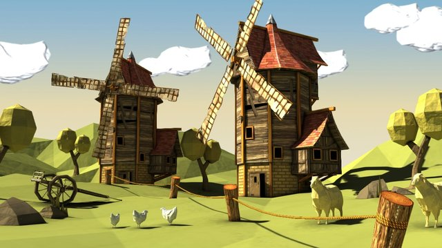 Papercraft Windmills 3D Model