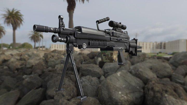 M249 Machine Gun 3D Model