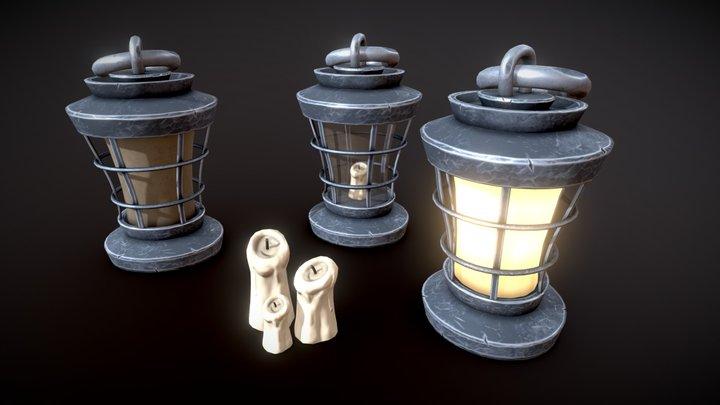 Stylized Oil Lamp 3D Model