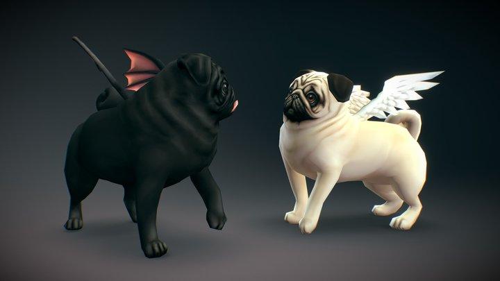 Pugs! 3D Model