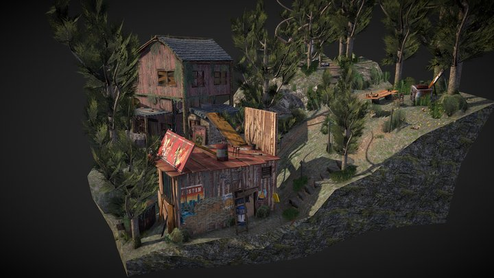 Diorama - Forest Loner - 3D Low Poly 3D Model