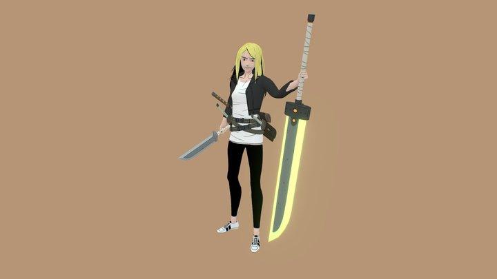 Swordswoman - Hand Painted 3D Model