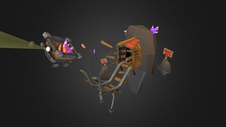 Stylized Minecart Scene 3D Model