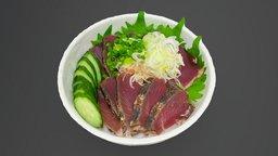 Seafood bowl - Tataki tuna 3D Model