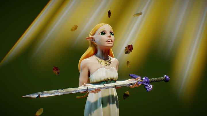 Zelda and the fallen hero - Breath of the wild 3D Model