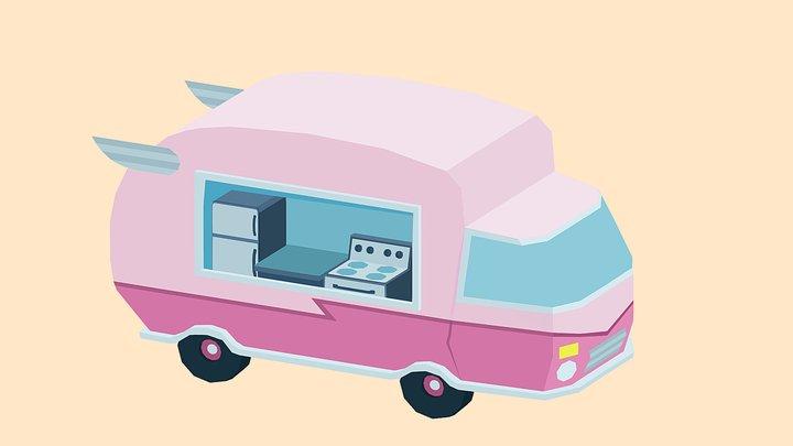 Cute Food truck 3D Model