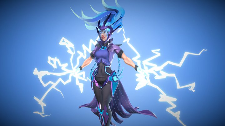 Stylised Female Character - Electric Mage 3D Model