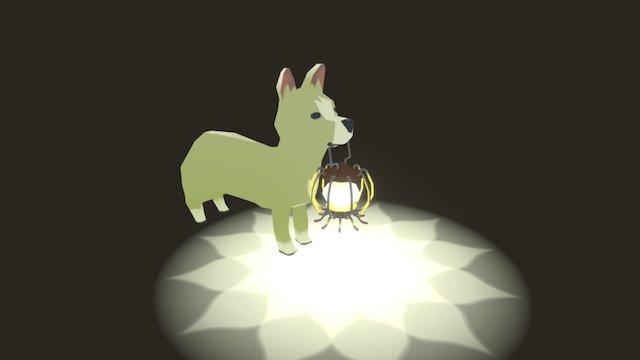 Corgi with Lantern 3D Model