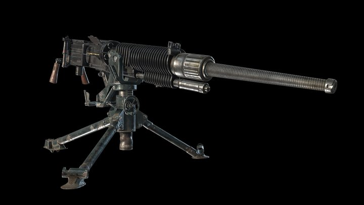 Type 92 Heavy Machine Gun 3D Model