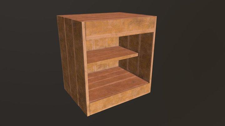 Wooden Side Table 3D Model
