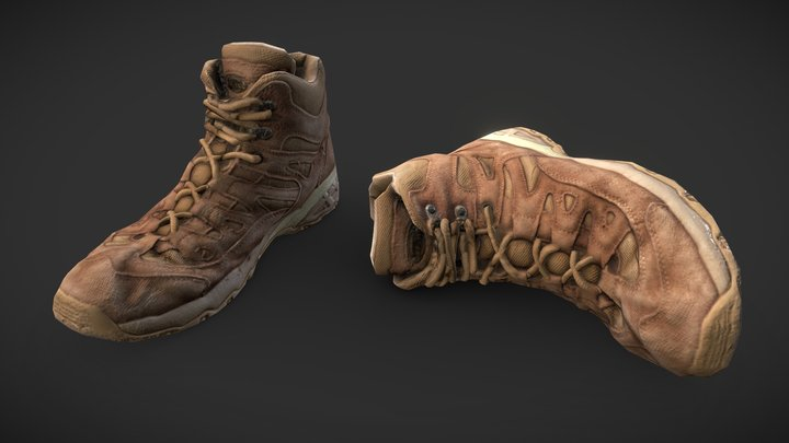 MIlitary Shoes Scan - Remeshed PBR 3D Model