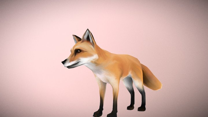 Foxy - lowpoly hand paint 3D Model