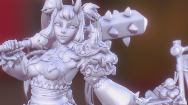 Oniko & Tama (Greyscale) 3D Model