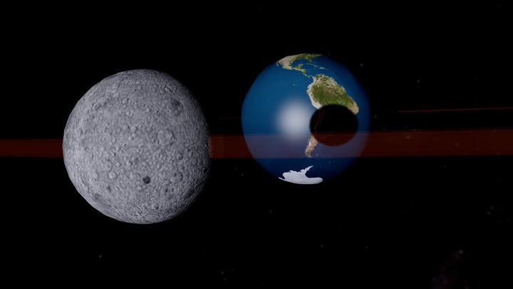 Earth & Moon - Eclipse 3D Model