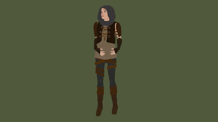 Low-Poly Pregnant Huntress 3D Model