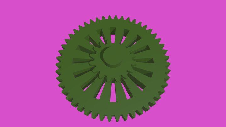 Wheel with gear tread profile 3D Model