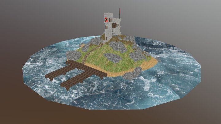 Medieval tower on Island 3D Model