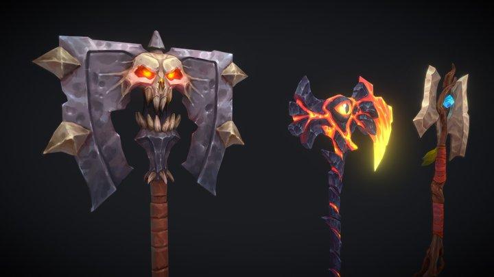 Stylized Fantasy Axes 3D Model