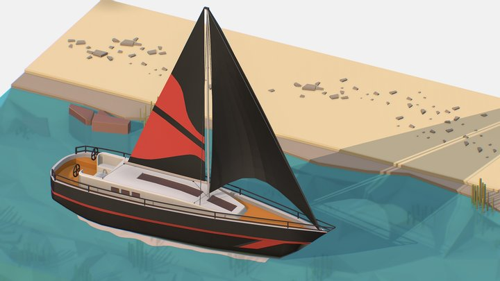 Isometric Black Yacht Scene MotorBoat Black 3D Model
