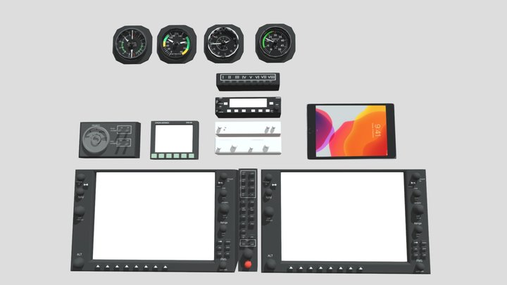 accurate aircraft avionics pack (WIP ver IV) 3D Model